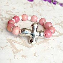 Prstene - Elastic Rosary Rhodonite Antique Silver Ring / Elastický prsteň - ruženec rodonit, starostriebro /1423 - 10292931_