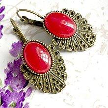 Náušnice - Vintage Red Jade Earrings / Bronzové náušnice s červeným jadeitom /1426 - 10293372_
