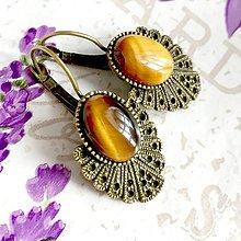 Náušnice - Vintage Tiger Eye Earrings / Bronzové náušnice s tigrím okom /1428 - 10295648_