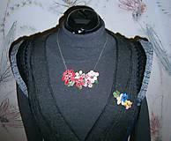 Náhrdelníky - lel,náhrdelník flowers malinový folk - 10296035_