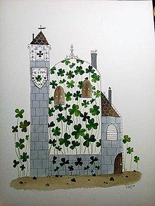 Obrazy - Stvorlistkovy hrad ilustrácia / originál maľba  - 10292322_