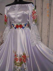 """Šaty - FLORAL FOLK """" Ornamentica """", svadobné dlhé šaty, ručná maľba - 10295073_"""