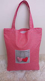 Nákupné tašky - Taška nákupná červené srdiečko - 10292769_