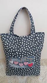 Nákupné tašky - Taška nákupná šedá srdiečko - 10292923_