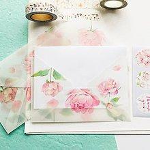 Papier - polopriehľadná papierová obálka Ruže - 10292264_