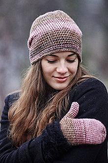 Čiapky - Ružovo-hnedá čiapka + palčiaky - 10294560_