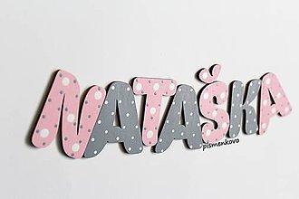 Detské doplnky - NATAŠKA dievčenské meno s drevených písmeniek - 10295438_