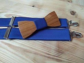 Doplnky - Pánsky drevený motýlik a traky - 10293562_