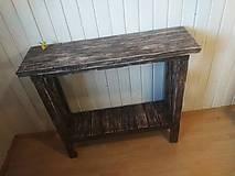 Nábytok - Konzolový stolík do chodby - patinovaný hnedý - 10291979_