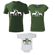 Tričká - Poľovnícka rodinka - rodinný set tričiek - 10295396_