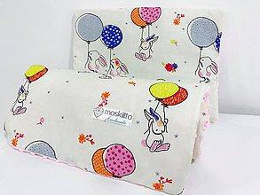 Textil - Deka a vankúš minky ružová zajačik s balónom - 10293891_
