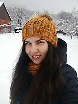 Šály - Čiapka a nákrčník, v horčicovej - 10292596_