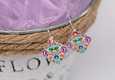 Náušnice - náušnice s ľudovým kvetinovým motívom - 10291941_