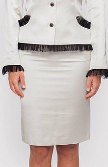 Sukne - Dámska sukňa smotanová s úzkym páscom - 10291907_