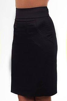 Sukne - Dámska sukňa čierna so širokým páscom - 10295800_