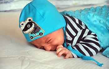 Detské čiapky - Detská čiapka na uväzovanie Jazvec - 10295493_