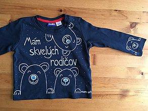 Detské oblečenie - Maľované tričko s medvedíkmi a nápisom