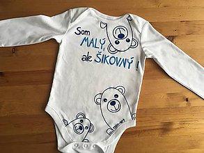 """Detské oblečenie - Maľované body s medvedíkmi a nápisom """"Som malý, ale šikovný """" - 10293579_"""