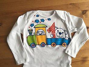 Detské oblečenie - Maľované body k 1. narodeninám (s vláčikom) - 10293613_