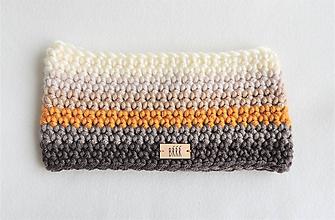 Čiapky - Dámska zimná čelenka v béžovo horčicovej farbe - 10292105_