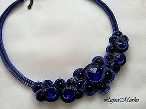 Náhrdelníky - Darina náhrdelník (Modro-čierne) - 10294985_