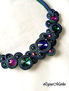 Náhrdelníky - Darina náhrdelník (Modro-smaragdovo-ružové) - 10294991_