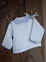 Detské oblečenie - Ľanová košielka Blue Stripes - 10295738_
