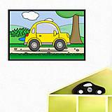 Detské doplnky - Auto v prírode - digitálna grafika do detskej izbičky (s okrajmi) (okrúhle trojdverové) - 10295229_