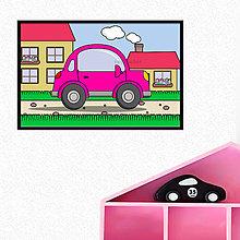 Detské doplnky - Auto na dedine - digitálna grafika do detskej izbičky (s okrajmi) (okrúhle trojdverové) - 10295225_