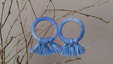 Náušnice - Modré strapce - 10298590_