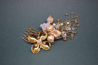 Ozdoby do vlasov - Ozdobný hrebienok do vlasov, Zlatý - 10298844_
