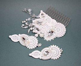 Sady šperkov - Svadobný šujtášový set, Náušnice a hrebienok, Biela/Strieborná - 10298871_