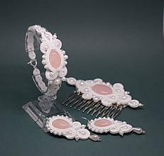 Sady šperkov - Svadobný šujtášový set s ruženínom, Strieborné zapínanie Ag 925 - 10299041_