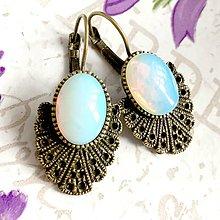 Náušnice - Vintage Opalite Earrings / Bronzové náušnice s opalitom /1431 - 10296717_