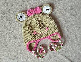 Detské čiapky - Plyšová žabka :) - 10297104_