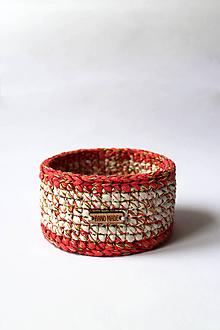 Košíky - Košík - strakatý | Červený | Béžový | drevený gombík - 10299492_