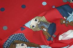 Textil - Bábiky na červenej úplet digi - 10296850_
