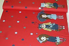 Textil - Bábiky na červenej úplet digi - 10296851_