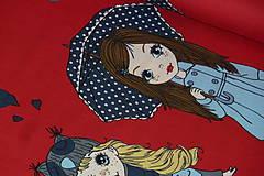 Textil - Bábiky na červenej úplet digi - 10296855_