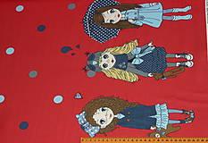 Textil - Bábiky na červenej úplet digi - 10296856_