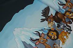Textil - Zvieratká pod ľadovou horou úplet digi - 10298316_