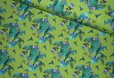 Textil - Motýlie deti na hráškovozelenej úplet digi - 10298390_