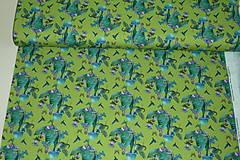 Textil - Motýlie deti na hráškovozelenej úplet digi - 10298391_