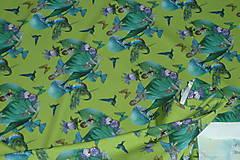 Textil - Motýlie deti na hráškovozelenej úplet digi - 10298392_