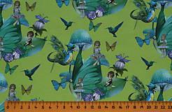 Textil - Motýlie deti na hráškovozelenej úplet digi - 10298402_
