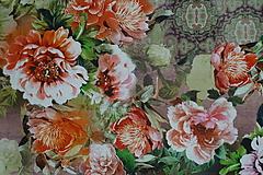 Textil - Farebné kvety Lila úplet digi - 10298430_