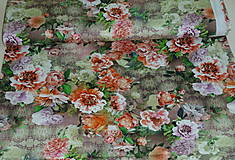 Textil - Farebné kvety Lila úplet digi - 10298431_