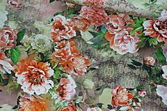 Textil - Farebné kvety Lila úplet digi - 10298432_