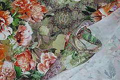 Textil - Farebné kvety Lila úplet digi - 10298433_