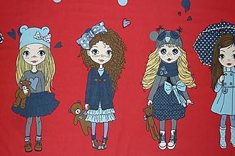 Textil - Bábiky na červenej úplet digi - 10296852_